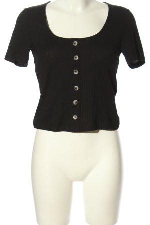 Vero Moda Geribd shirt zwart kabel steek casual uitstraling
