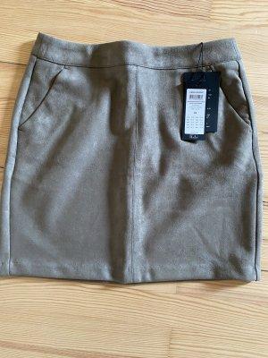 Vero Moda Jupe en cuir synthétique gris brun tissu mixte