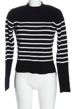 Vero Moda Rollkragenpullover schwarz-weiß Streifenmuster Casual-Look