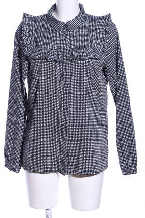 Vero Moda Rüschen-Bluse schwarz-weiß Allover-Druck Business-Look