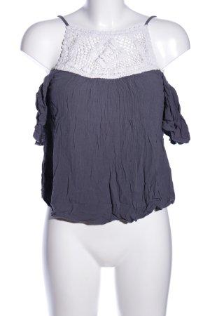 Vero Moda Top z falbankami niebieski-biały W stylu casual