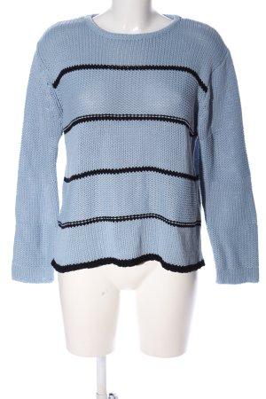 Vero Moda Rundhalspullover blau-schwarz Streifenmuster Casual-Look