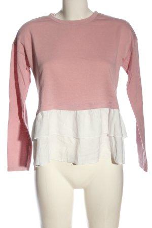 Vero Moda Jersey de cuello redondo rosa-blanco look casual