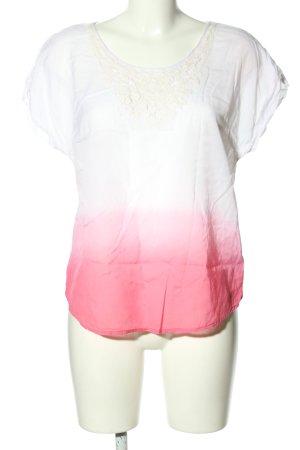 Vero Moda Schlupf-Bluse weiß-pink Farbverlauf Casual-Look