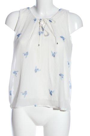 Vero Moda Schlupf-Bluse weiß-blau Allover-Druck Casual-Look