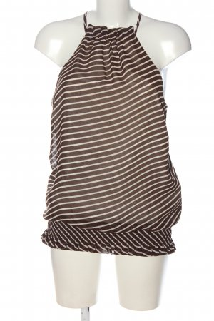 Vero Moda ärmellose Bluse braun-wollweiß Streifenmuster Casual-Look