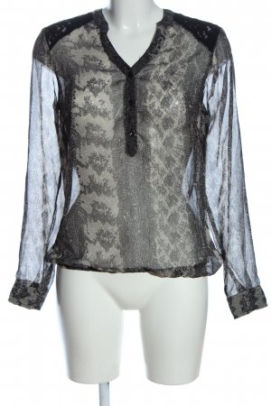 Vero Moda Schlupf-Bluse hellgrau-schwarz Allover-Druck Elegant