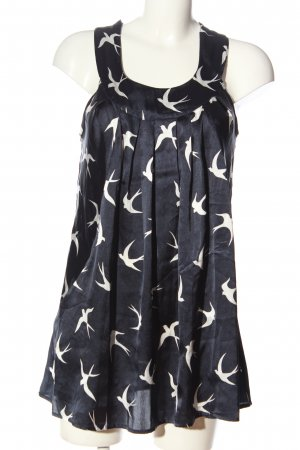 Vero Moda Long-Bluse blau-weiß Allover-Druck Casual-Look