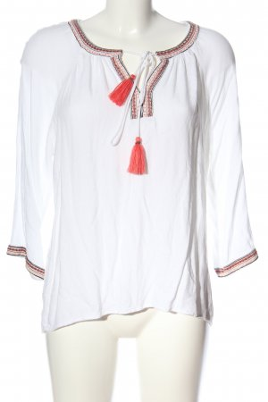 Vero Moda Schlupf-Bluse weiß-rot grafisches Muster Casual-Look