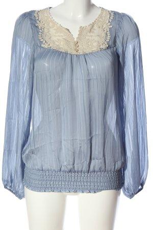 Vero Moda Schlupf-Bluse blau-wollweiß Business-Look