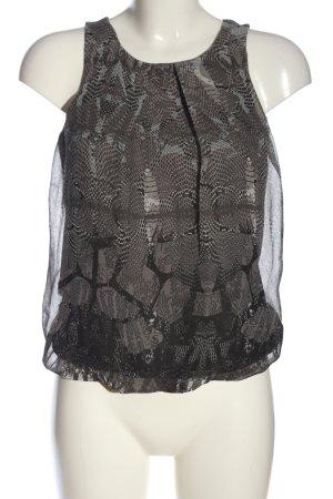 Vero Moda Schlupf-Bluse hellgrau-schwarz abstraktes Muster Casual-Look