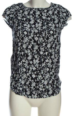 Vero Moda Schlupf-Bluse schwarz-weiß Allover-Druck Casual-Look