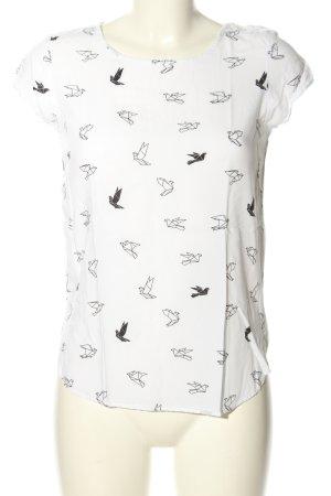 Vero Moda Schlupf-Bluse weiß-schwarz Allover-Druck Casual-Look