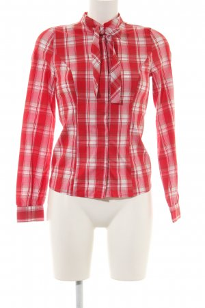Vero Moda Tie-neck Blouse red-natural white check pattern business style