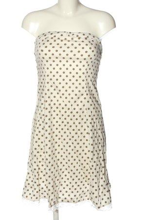Vero Moda schulterfreies Kleid weiß-braun Allover-Druck Elegant