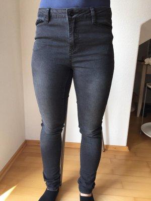 Vero Moda Jeans cigarette gris anthracite tissu mixte