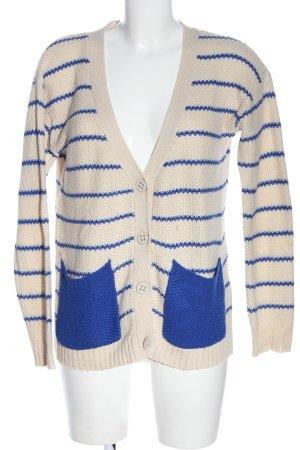 Vero Moda Strick Cardigan creme-blau Allover-Druck Casual-Look