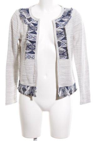 Vero Moda Strickjacke weiß-blau grafisches Muster Elegant