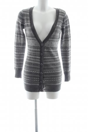 Vero Moda Strickjacke grau-wollweiß Aztekenmuster Casual-Look