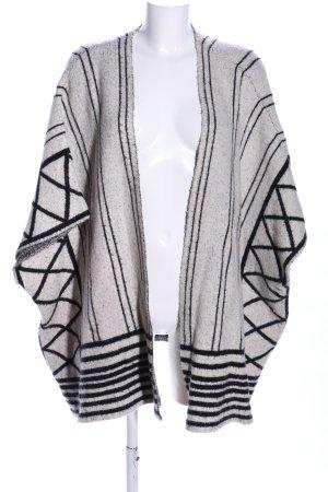 Vero Moda Strickponcho wollweiß-schwarz grafisches Muster Casual-Look