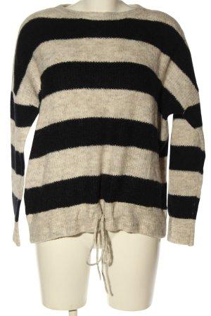 Vero Moda Strickpullover creme-schwarz Streifenmuster Casual-Look