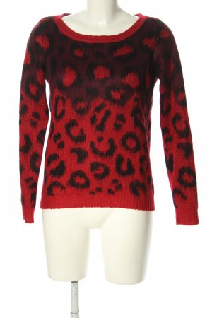 Vero Moda Strickpullover rot-schwarz abstraktes Muster Casual-Look
