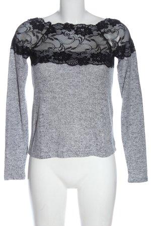 Vero Moda Strickshirt hellgrau-schwarz meliert Casual-Look