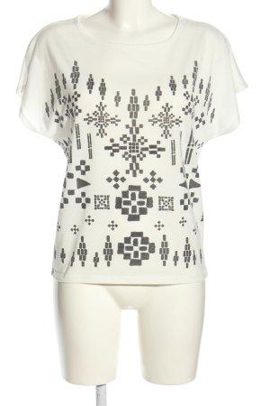 Vero Moda T-Shirt wollweiß-schwarz abstraktes Muster Casual-Look