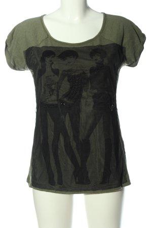 Vero Moda T-Shirt khaki-schwarz Motivdruck Casual-Look