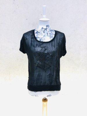 VERO MODA T-Shirt schwarz Netz mesh GR xs 34 36 Abend Shirt