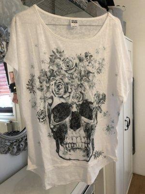 Vero Moda T-shirt Totenkopf weiß