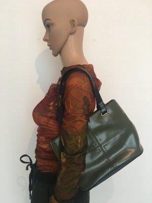 Vero Moda Tasche  Leder Kelly bag mittel Henkel Leder  oliv schwarz Nieten Henkeltasche Handtasche Tasche robust drei unterfächer mit Reißverschluss
