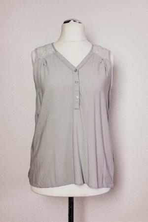 Vero Moda Top Bluse ärmellos Spitze hellgrau Scandi Gr. L 38 40
