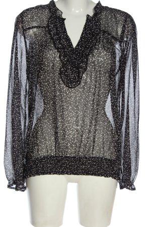 Vero Moda Transparenz-Bluse schwarz-weiß Allover-Druck Elegant