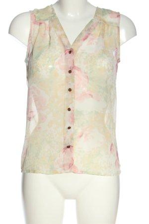 Vero Moda Transparenz-Bluse creme-pink abstraktes Muster Casual-Look