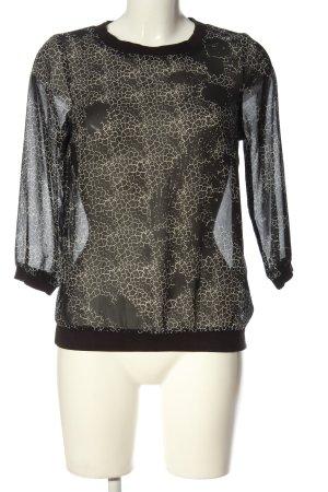 Vero Moda Transparenz-Bluse schwarz-weiß abstraktes Muster Casual-Look