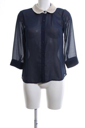 Vero Moda Transparenz-Bluse blau-weiß Business-Look