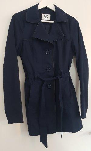 Vero Moda Trenchcoat, dunkelblau mit schwarzen Leder-Details, Größe S