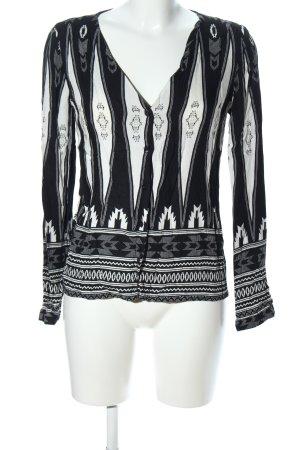 Vero Moda Tunikabluse schwarz-weiß grafisches Muster Casual-Look