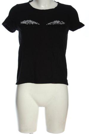 Vero Moda U-Boot-Shirt schwarz Schriftzug gestickt Casual-Look