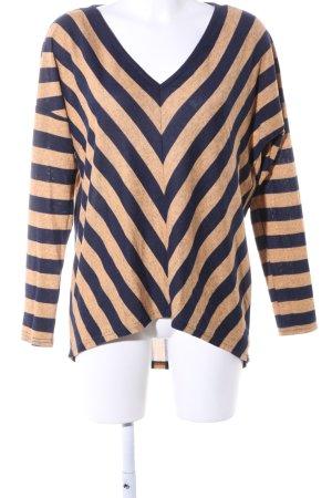 Vero Moda V-Ausschnitt-Pullover braun-blau Streifenmuster Casual-Look