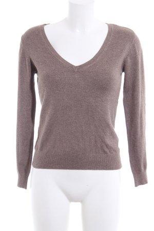Vero Moda V-Ausschnitt-Pullover braun meliert Casual-Look