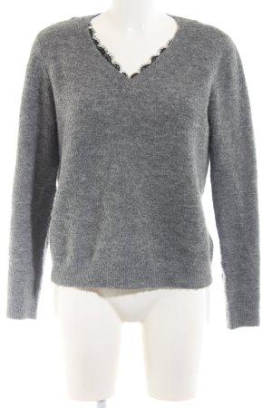 Vero Moda V-Ausschnitt-Pullover hellgrau meliert Business-Look