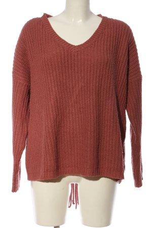 Vero Moda V-Ausschnitt-Pullover rot Zopfmuster Casual-Look