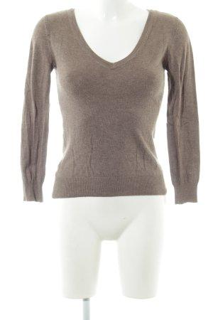 Vero Moda V-Ausschnitt-Pullover hellbraun Casual-Look