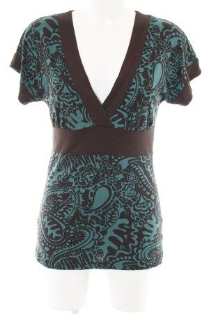 Vero Moda V-Ausschnitt-Shirt braun-türkis Allover-Druck Casual-Look