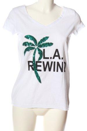 Vero Moda V-Ausschnitt-Shirt Schriftzug gedruckt Casual-Look