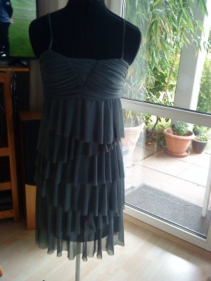 Vero Moda Vestido estilo flounce gris oscuro-gris tejido mezclado