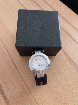 Versace Montre avec bracelet en cuir noir