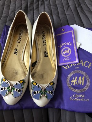 Versace for H&M Patent Leather Ballerinas white leather